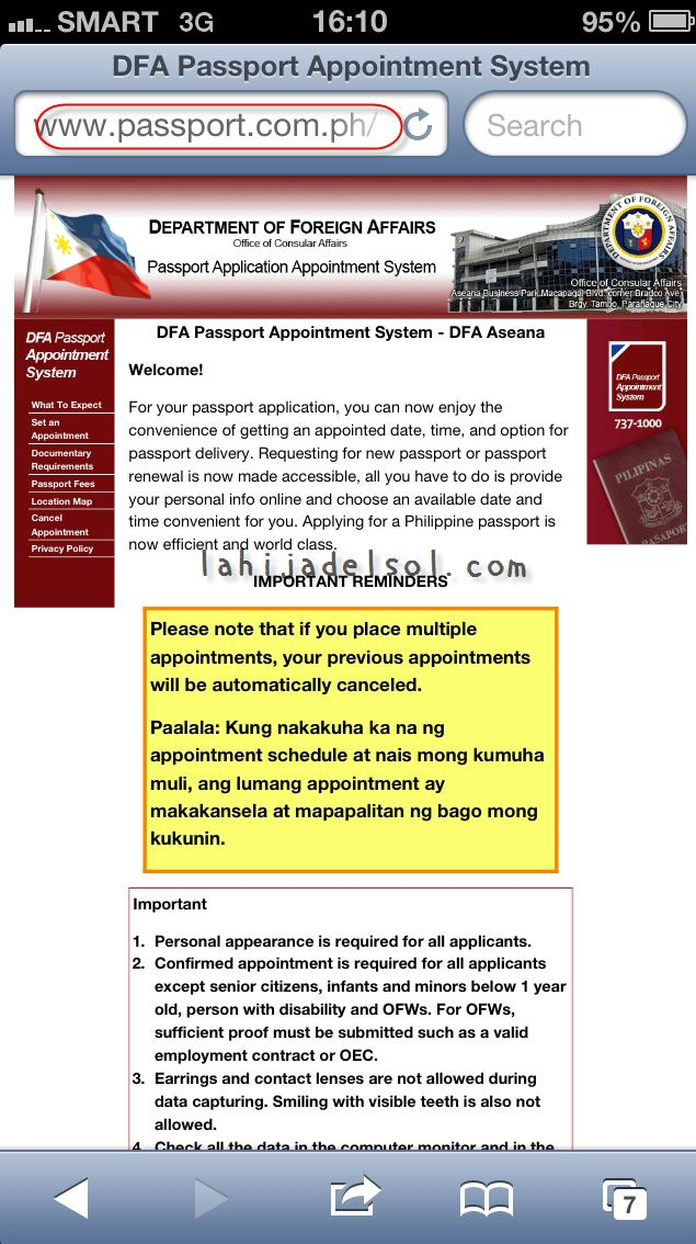 DFA online passport renewal website