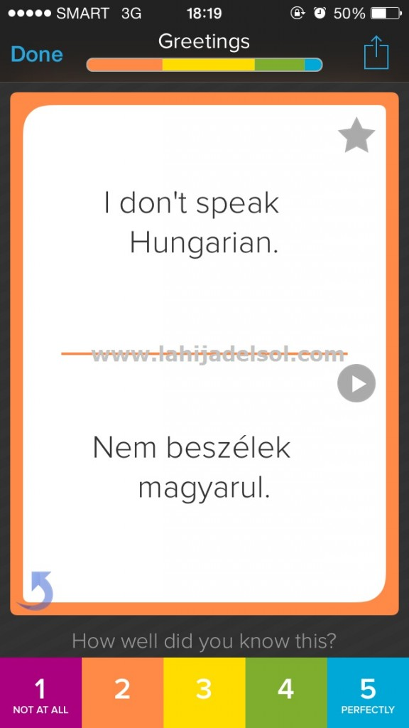 Hungarian flashcard in Brainscape (with audio file)