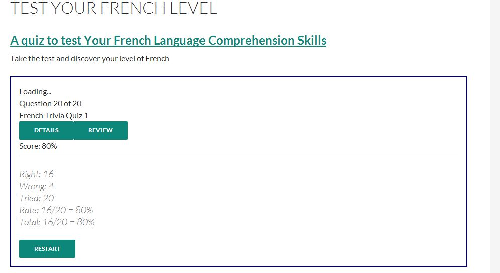 Easy French proficiency test at France Pub