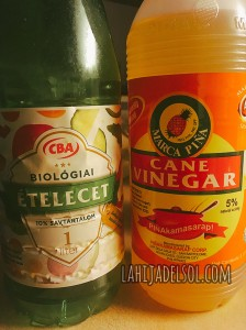 Local and Filipino vinegar