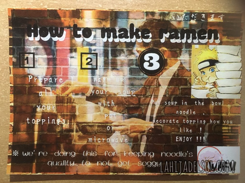 Instructions for your ramen order